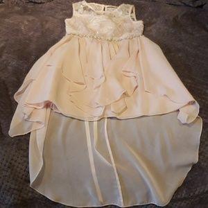 Girl's soft pink high-low embellished dress